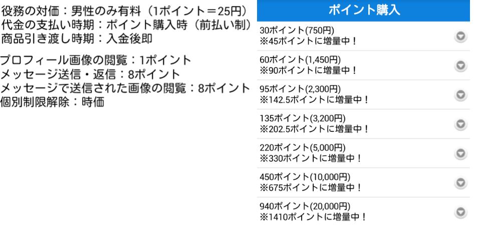 あいドル/恋愛SNS・無料掲示板で即チャット(idol)料金表